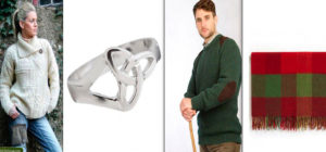 Irish Gifts for Christmas: A ladies' Aran cardigan, the celtic trinity knot ring, the fisherman's Donegal rib sweater, and an Irish mohair throw.