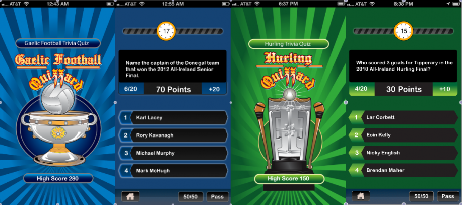 Screen shots with sample questions from web designer Martin Sheerin's new Gaelic football and hurling trivia apps.