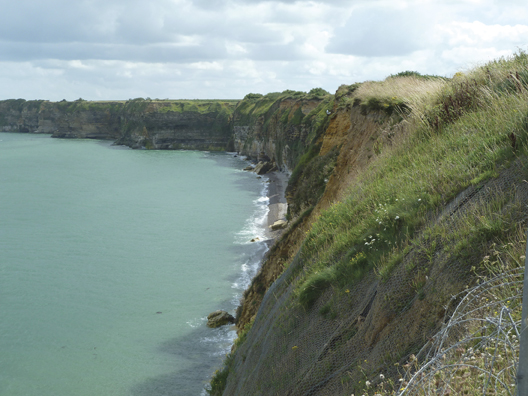 The cliffs as viewed from Pointe du Hoc provide some perspective on the task that the Rangers faced on June 6, 1944.