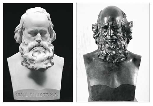 Left: Portrait bust of Charles Loring Elliott (1870). Right: Portrait bust of William C. Bryant (1864). Both busts are owned by Metropolitan Museum of Art, New York City.