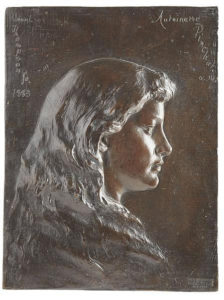 Bronze plaque depicting bust length portrait of Antoinette Eno Pinchot, signed Launt Thompson 1883.