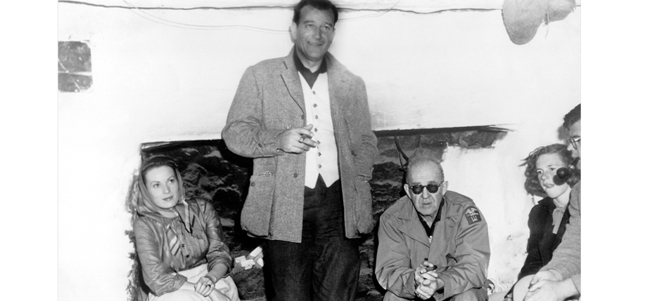 Left to right, the Trinity: Maureen O'Hara, John Wayne, and John Ford on the set of The Quiet Man in 1951.