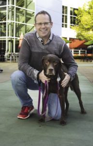 Deegan and his dog, Tula. Pets are welcome at Google. Photo: Kit DeFever