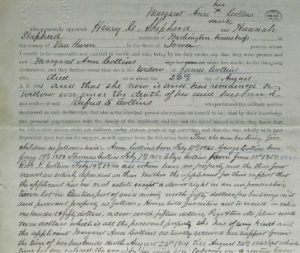 "This is an affidavit from the Civil War pension file of Rufus Collins where his mother, Margaret Ann, is testifying about the fact that her husband has died, she's got a bunch of kids, and that Rufus was the main means of support for the family. You can see Margaret Ann's mark in the upper right.  This was 1865. Sadly, within two years, their house would burn down and Margaret Ann would die. As Megan Smolenyak, who discovered the affidavit, said about Thomas (Judy's great-grandfather), ""Between the ages of eight and 14, then, young Thomas had endured the loss of his father, his brother, his family's main means of support, his family home and all their possessions, and his mother."""