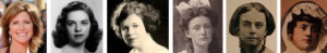 The remarkable women of Stephen Colbert's family tree (left to right): wife Evelyn McGee-Colbert, mother Lorna (Tuck)  Colbert, grandmothers Marie (Fee) Tuck and Mary (Tormey) Colbert, great-grandmother Carolina (Connolly) Fee, and great-great-grandmother Elizabeth (Maloy) Connolly.