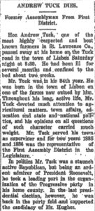 Andrew Tuck's 1917 obituary.