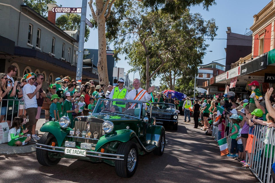 Perth's 2014 St. Patrick's Day Parade Grand Marshal in a grand ride. (Image: stpatricksfestivalwa.com)