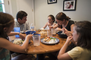 (L-R) Quinn Murray, Sean Murray, Maeve Murray, Meghan Murray and Coco Murray have dinner at home on Thursday, July 24, 2014 in Chevy Chase, MD. (Photo by Yue Wu/The Washington Post)