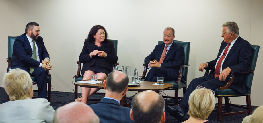 From left: William Crawley, a Project Children Alumnus; Project Children alumna Patricia MacBride; Norman Houston, director of the Northern Ireland Bureau; and Denis Mulcahy, Founder and Chairman of Project Children all speaking in Washington, D.C.
