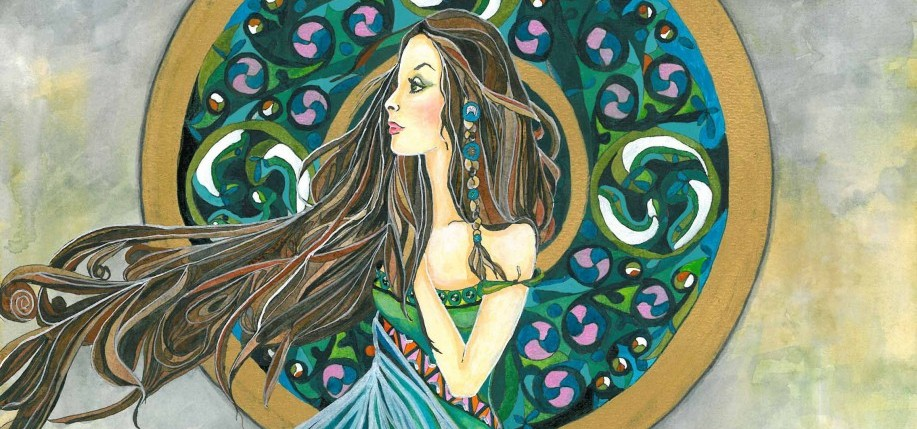 "Detail of ""Áine,"" by Caroline Evans. Watercolor and Ink. Image: carolineevans.net"