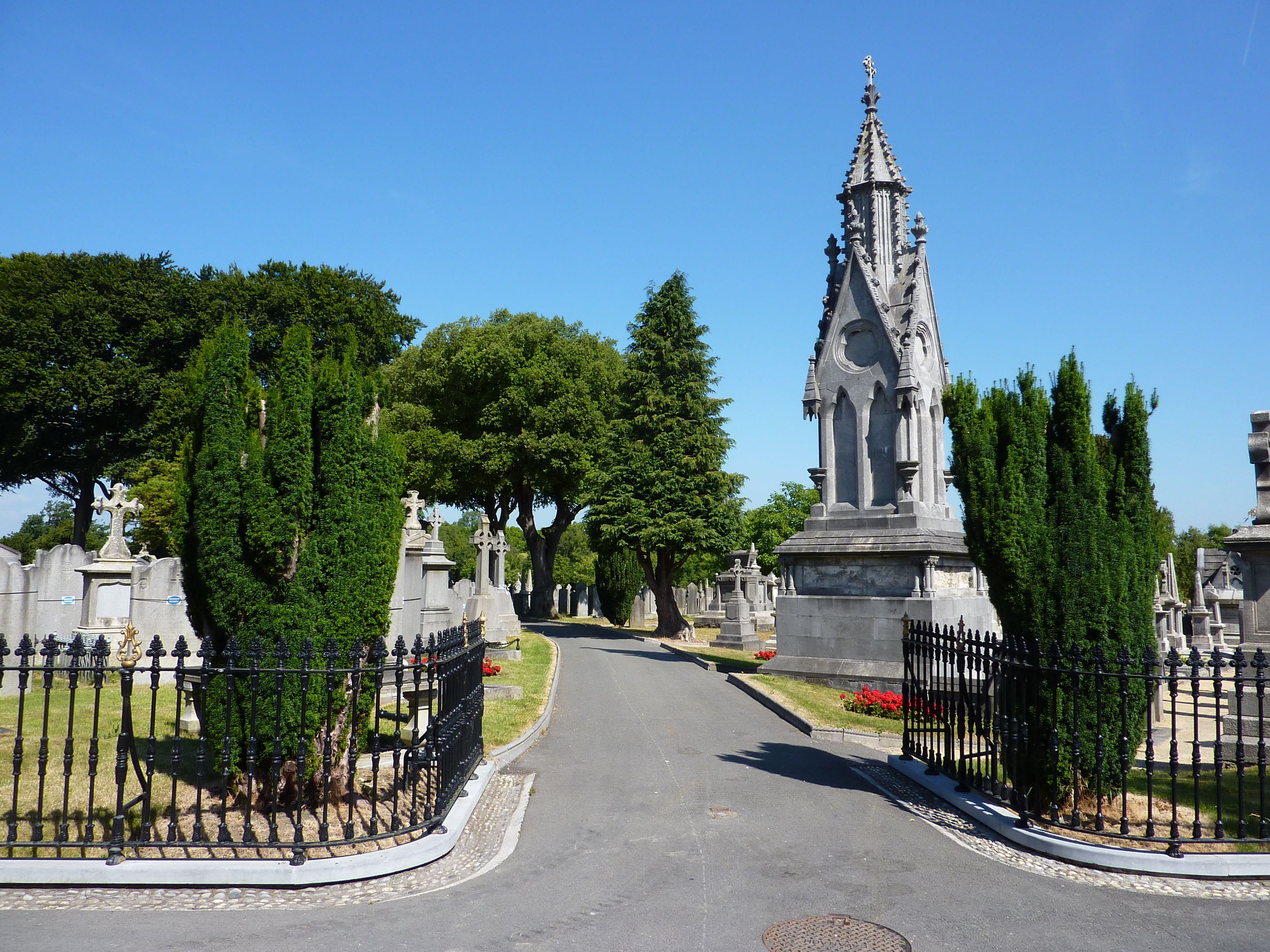 The entrance to Glasnevin  after the cemetery underwent a re-landscaping and improvement project.
