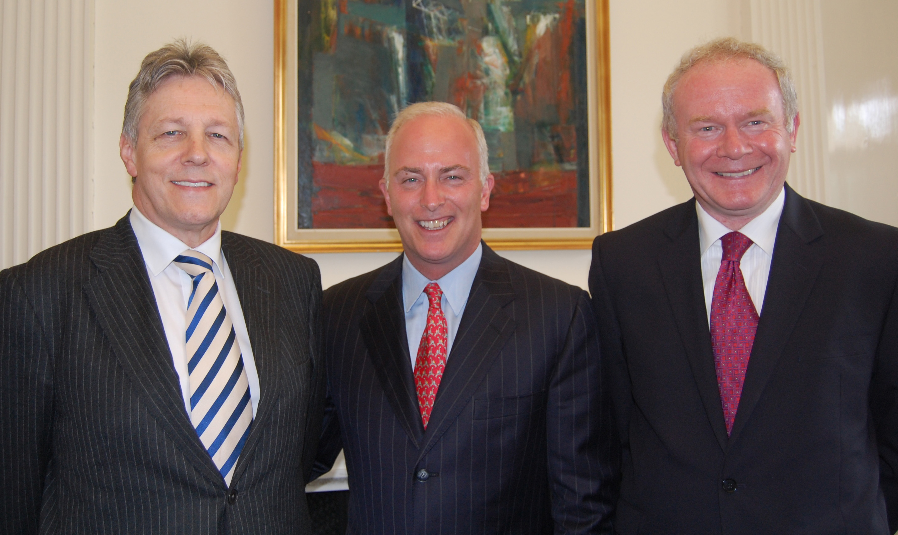Bob McCann (center) With First Minister Robinson and Deputy Minister McGuinness at Stormont Castle in June 2009.