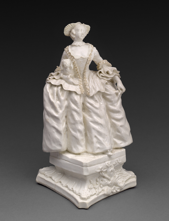 "Bow Porcelain Factory. Kitty Clive as the Fine Lady, c. 1750. The Dublin-born actress, Catherine 'Kitty' Clive (1711-85). This model of Kitty was created by The Bow Porcelain Factory founded by Anglo-Irish painter Thomas Frye (c. 1710 – 1762) who claimed to be ""the inventor and first manufacturer of bone china in England."""