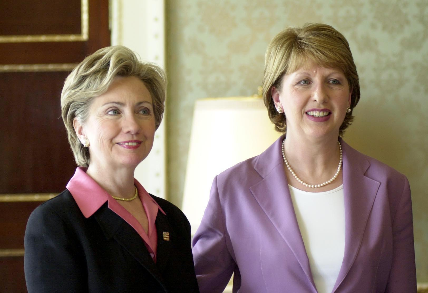 Then-Senator Hillary Rodham Clinton visits President of Ireland Mary McAleese during a visit by the former first lady to Aras An Uachtarain, Dublin. (Photo: Photocall Ireland)
