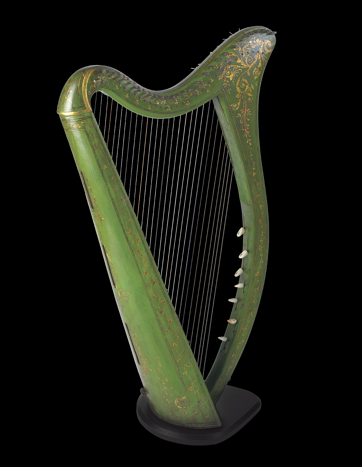 "John Egan Portable Harp, c. 1820. John Egan was an Irish musical instrument maker who is considered the father of the modern Irish harp. Egan overcame the restrictions of the traditional Irish harp by creating ""portables"". Eighty of his classic harps are known to exist. The O'Brien Collection."
