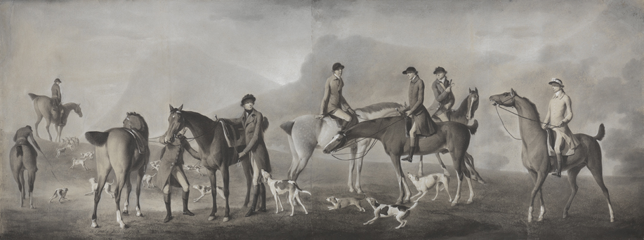 Tom Conolly of Castletown Hunting with his Friends, 1769. Robert Healy, Irish, 1743-1771. Grand-nephew of Ireland's richest commoner Donegal-born William Conolly (1669) who went on to become Speaker of the Irish House of Commons. Very Rare and unique Pastel, chalks, and gouache on paper (20 1/4 x 53 1/2 in.) On loan from Yale Center for British Art, Paul Mellon Collection.
