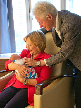 The next generation. Bill and Hillary Clinton with their granddaughter Charlotte Clinton Mezvinsky. (Photo: @HillaryClinton/Twitter)