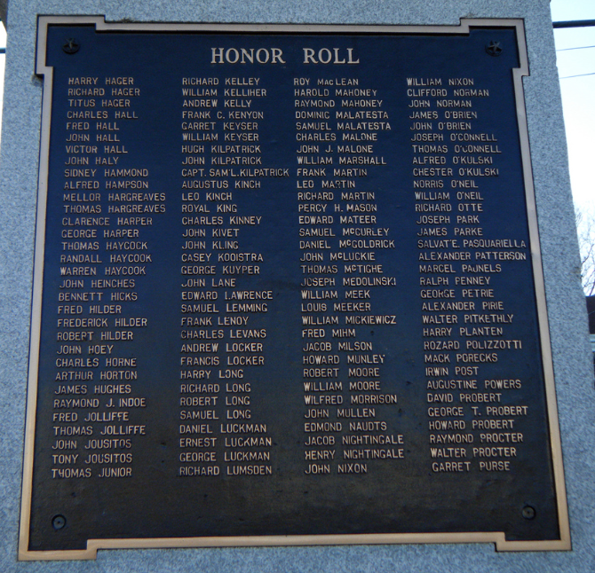 WWI Honor Roll, People's Park,  Paterson, New Jersey. A quick look at the plaque reveals many Irish names among the soldiers who were killed in battle.