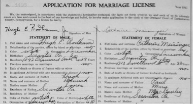 937 marriage  license of Hugh E.  Rodham to Catherine Meisinger. (FamilySearch.org)