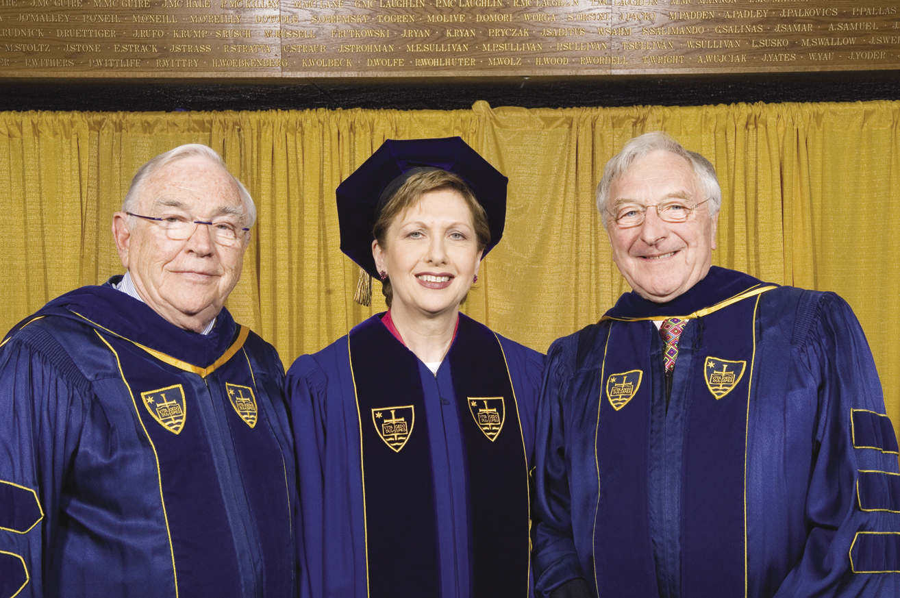 Donald Keough, President  of Ireland Mary McAleese, and Martin Naughton receive honorary doctorates from the University of the Notre Dame.