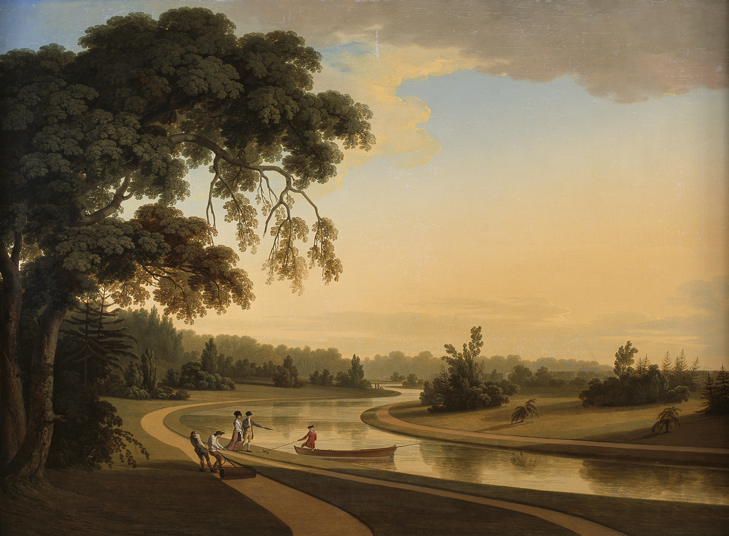 The Sheet of Water at Carton, County Kildare with the Duke and Duchess of Leinster and gardeners rolling a serpentine path, 1775 – 76.  Private Collection. Thomas Roberts. Carton was the birthplace of  patriot Lord Edward Fitzgerald, son of the first Duke and Duchess of Leinster.
