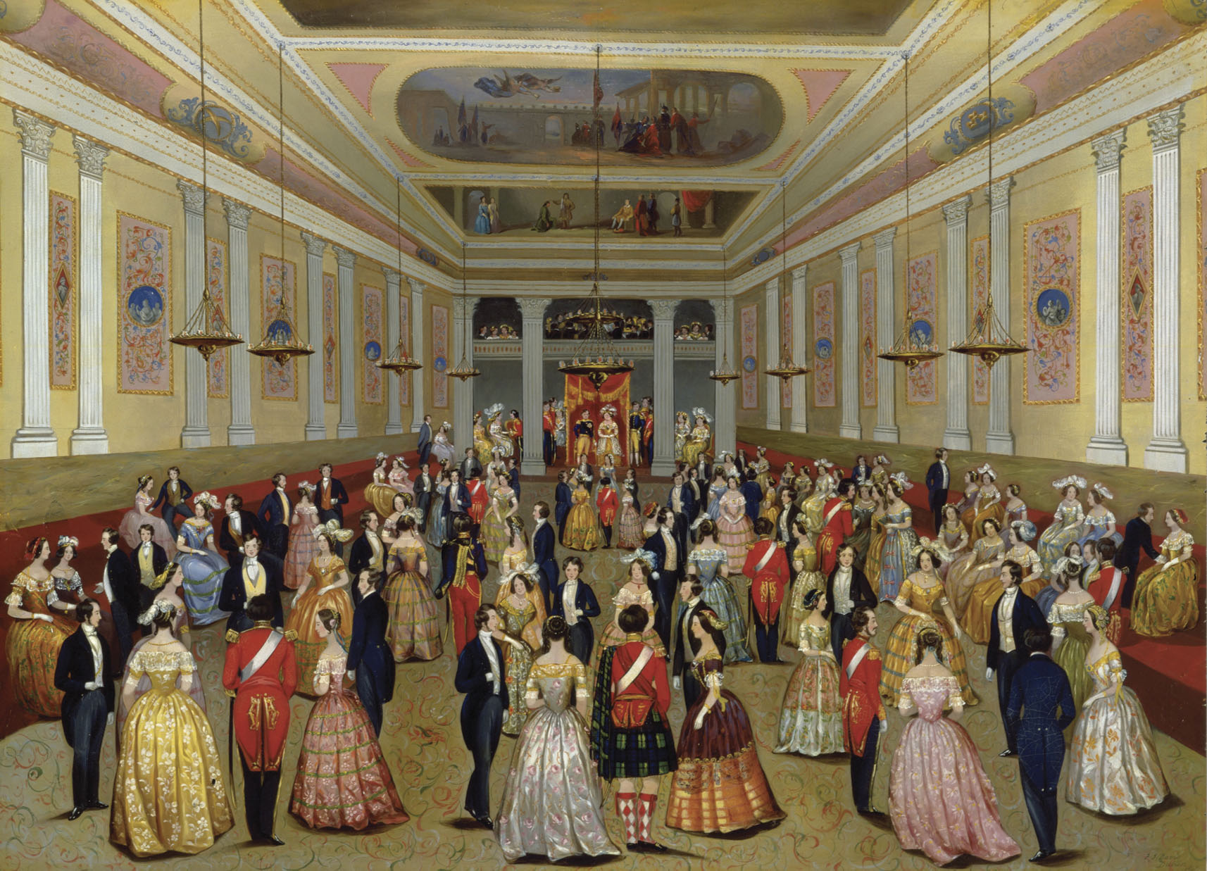 The State Ballroom, St. Patrick's Hall, Dublin Castle. F.J. Davis, c.1845. This work records one of the major occasions of Dublin's annual social calendar. Until 1922 the castle was the seat of British Government rule in Ireland. It is now part of the Government of Ireland's official buildings. On loan from the Brian P. Burns Collection of Irish Art.