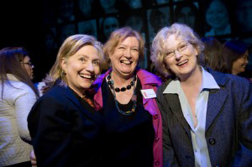 "Clinton, Inez  McCormack, and Meryl Streep at the Broadway performance of ""Seven,"" in which Meryl Streep played Inez McCormack, in March 2010. (Photo: Joshua Cogan / Vital Voices)"
