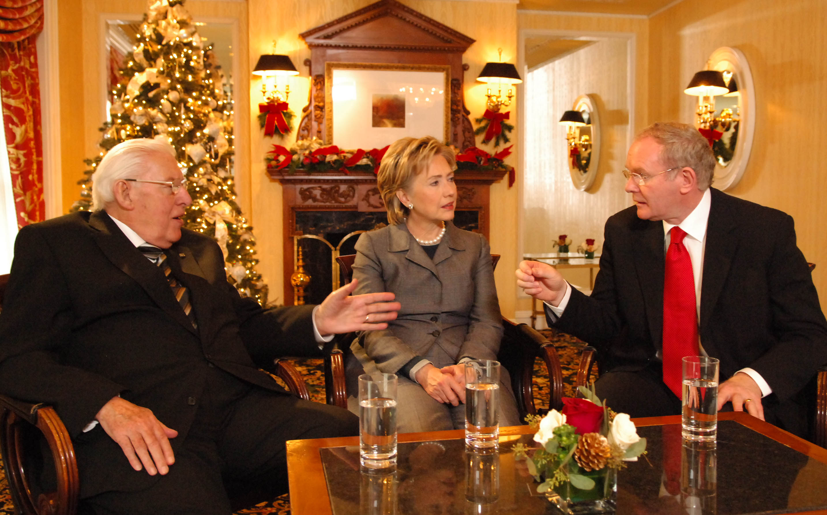 Senator Hilary Clinton with First Minister Northern Ireland Ian Paisley and Deputy First Minister Martin McGuinness at the Willard Hotel ,Washington DC. (Photo: John Harrison)