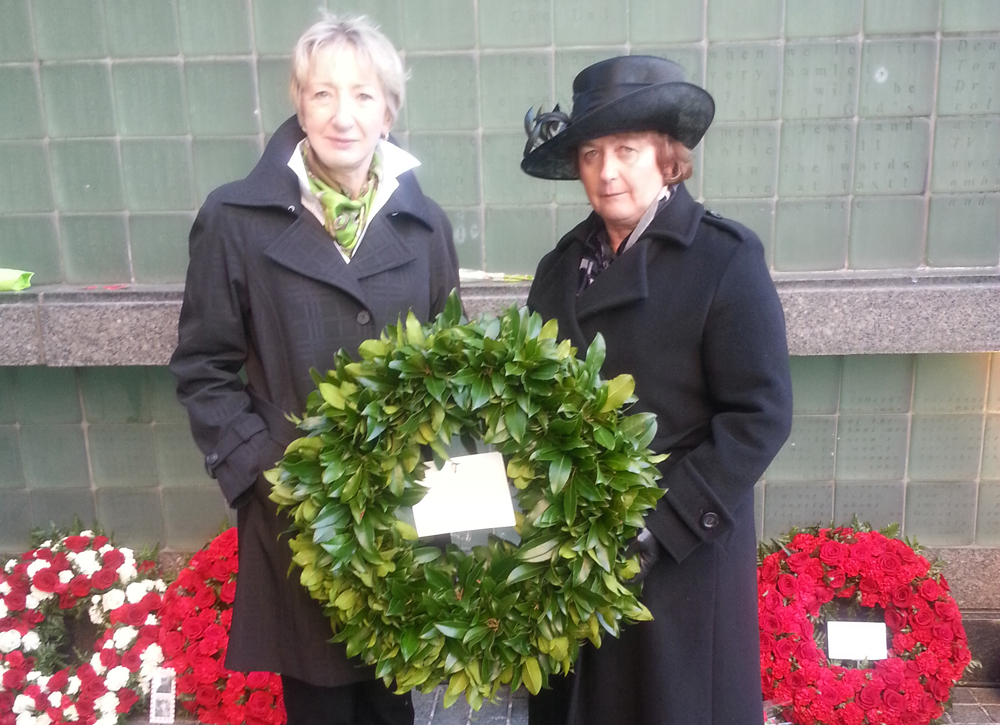 Consul General Jones, who laid a traditional Irish green laurel wreath on behalf of the Government of and people of Ireland to commemorate the more than 3,000 Irish serving with the Allied forces who lost their lives during the Gallipoli campaign, is pictured with editor Patricia Harty whose grandfather served with the Royal Army Medical Corps during the offensive. (Photo: Courtesy of the author)