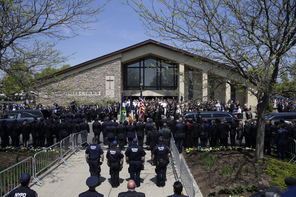The scene in front of St. James Catholic Church in Seaford, New York.