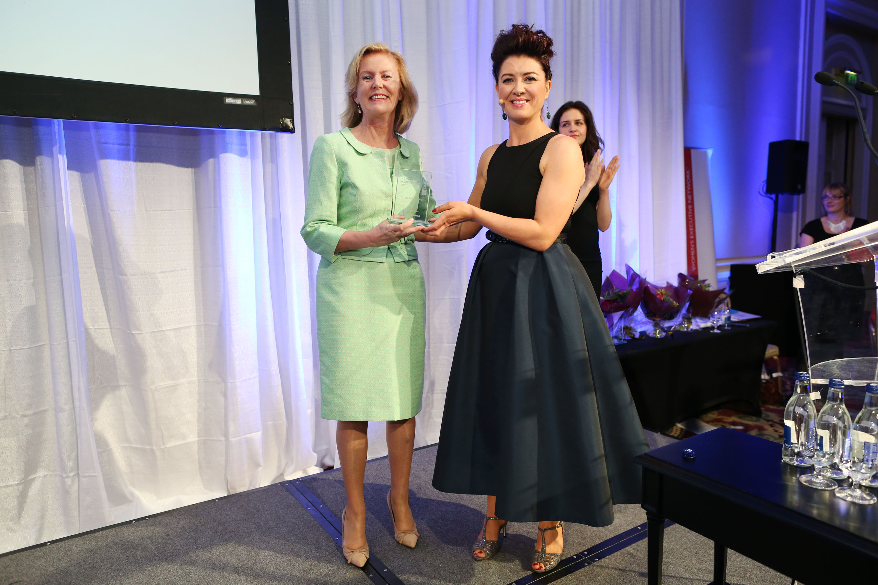 Anne Anderson with Roisin O'Hara, broadcast Journalist. Click to enlarge.