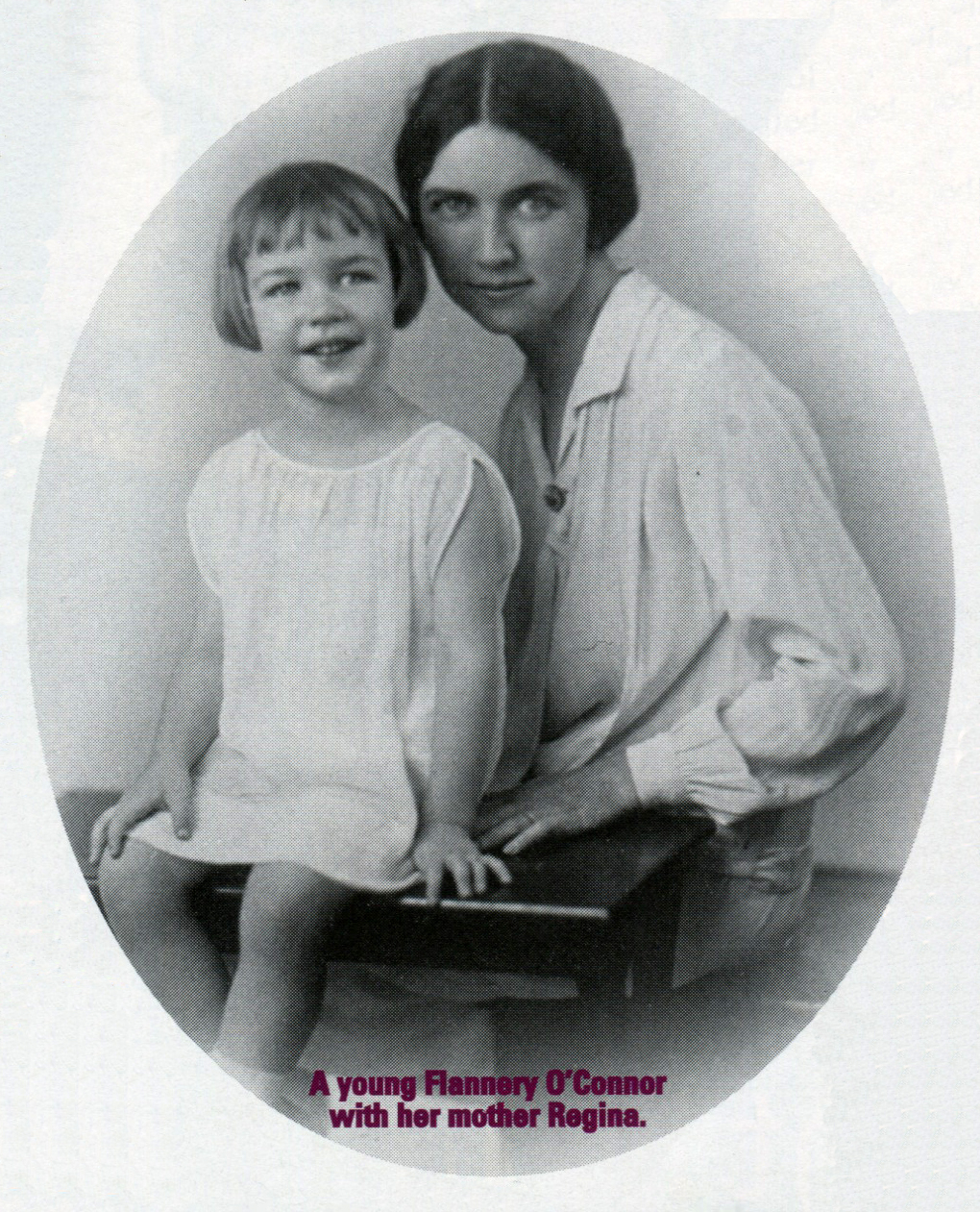A young Flannery O'Connor with her mother Regina.  Photo courtesy Flannery O'Connor, Ina Dillard Russell Library, Georgia College and State University, Milledgevillage, Georgia. Originally printed in Irish America (March / April 1998).