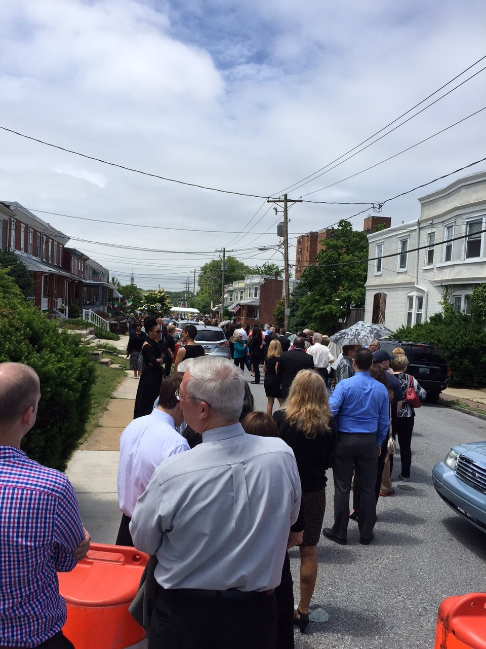 Throngs of people lined the streets of Wilmington, DE to pay their respects to the Biden family. (Photo: Megan Smolenyak)