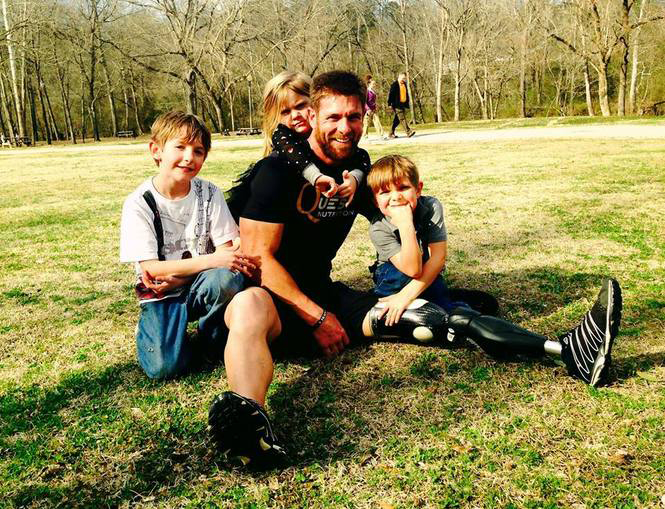 Family man. From left, Colston, Rian, Noah and Jack. (Photo Courtesy Noah Galloway)