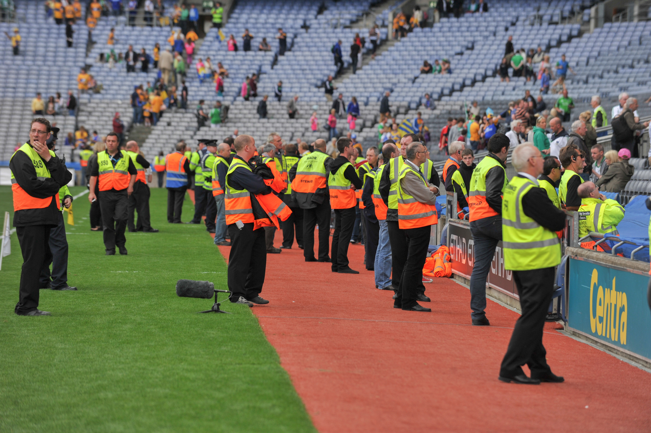 18th August, 2013, Croke Park Dublin. The 2013 All-Ireland Senior Hurling Semi-final between Limerick and Clare. Pictured are stewards in the stadium. (Photo: Barry Cronin)