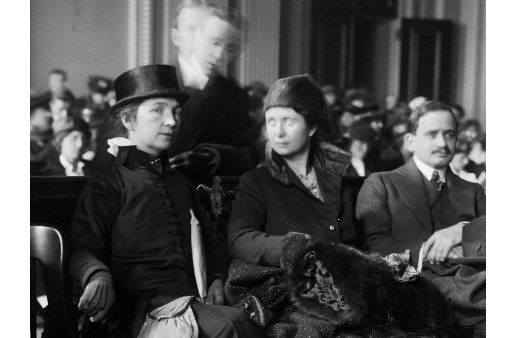 18 Jan 1916 --- Mrs. Margaret Sanger (L) with her sister, Ethel Byrne, seated in court. Mrs. Sanger is on trial for sending her book The Woman Rebel through the mail. (Image by © Bettmann/CORBIS)