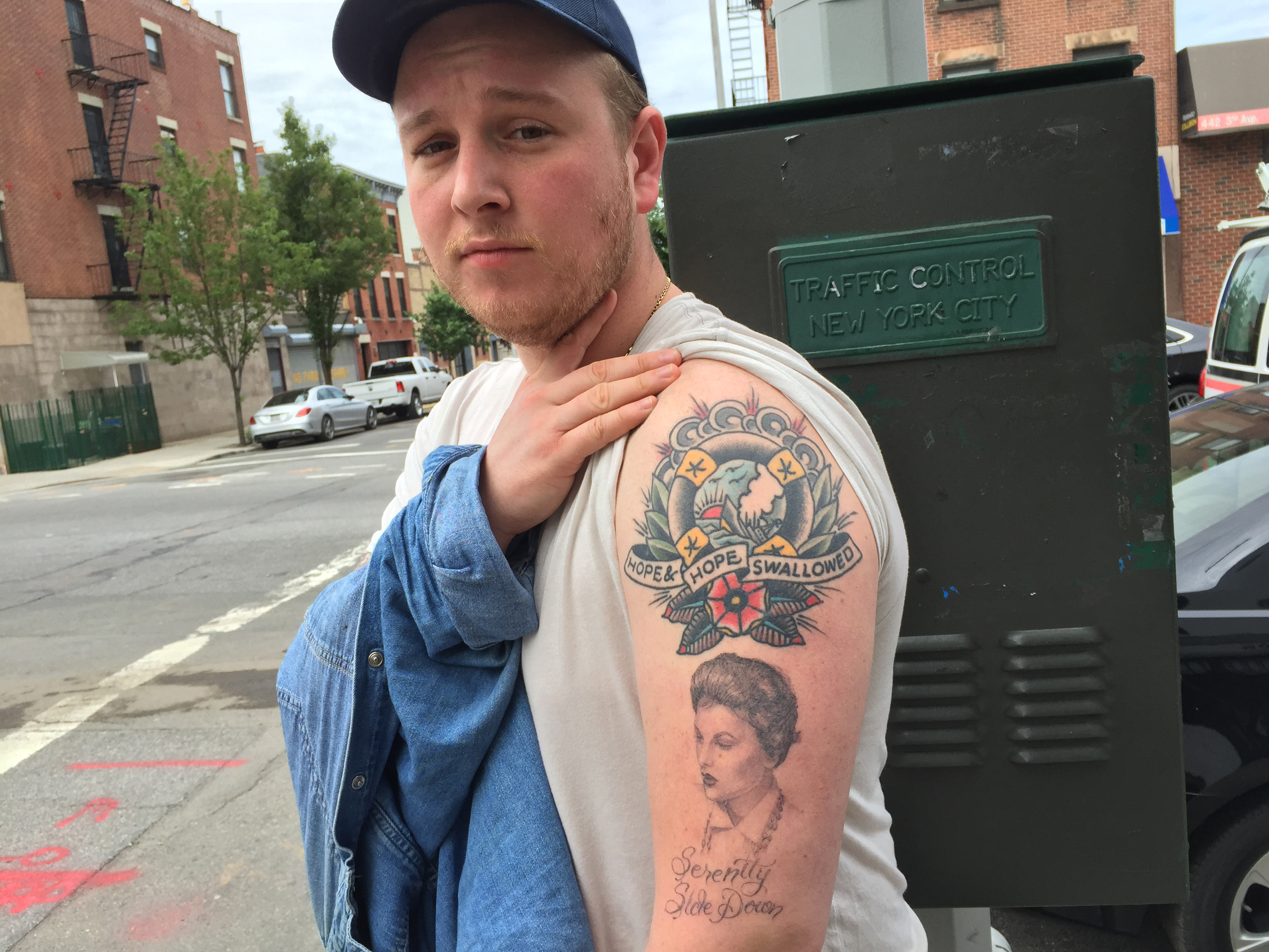 McEnroe with his tattoo of his grandmother, Joanna Moore.