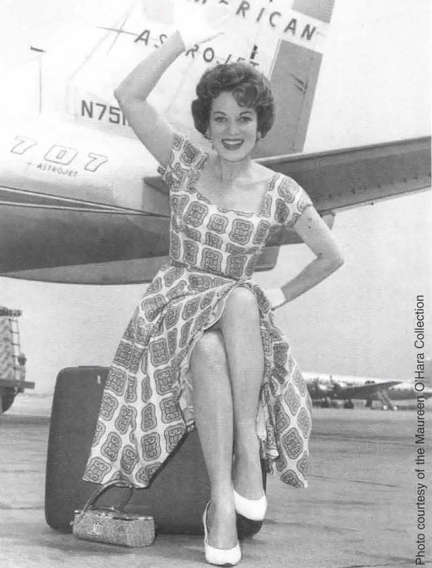 O'Hara before a flight. She would later become the first female president of a scheduled airline. (Courtesy Maureen O'Hara Collection)