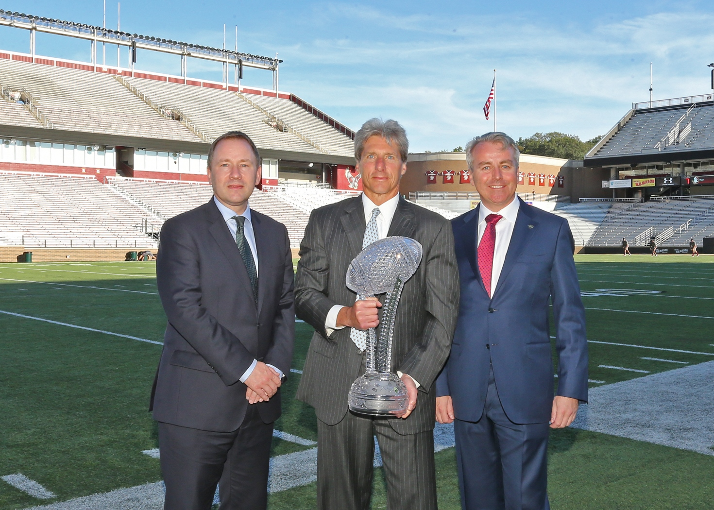 Pictured at the presentation of the Keough-Naughton Trophy at Boston College were L-R: Stephen Kavanagh, CEO Aer Lingus; Brad Bates, Boston College Director of Athletics; and Neil Naughton, chairman of the Aer Lingus College Football Classic steering committee.