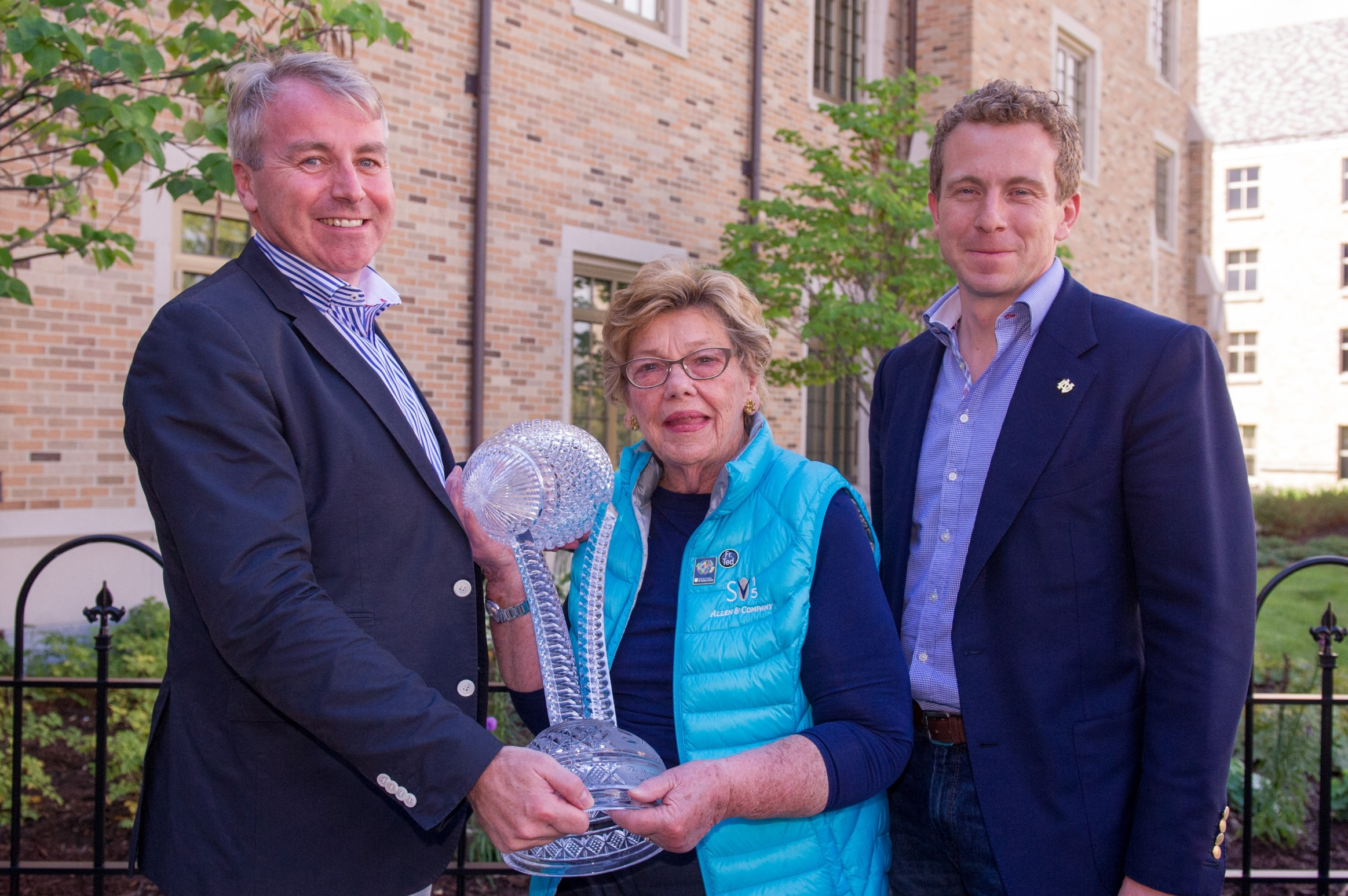 Pictured at the presentation of the Keough-Naughton Trophy at Boston College were: Neil and Fergal Naughton with their mother Mickie Keough, the wife of the late Don Keough.