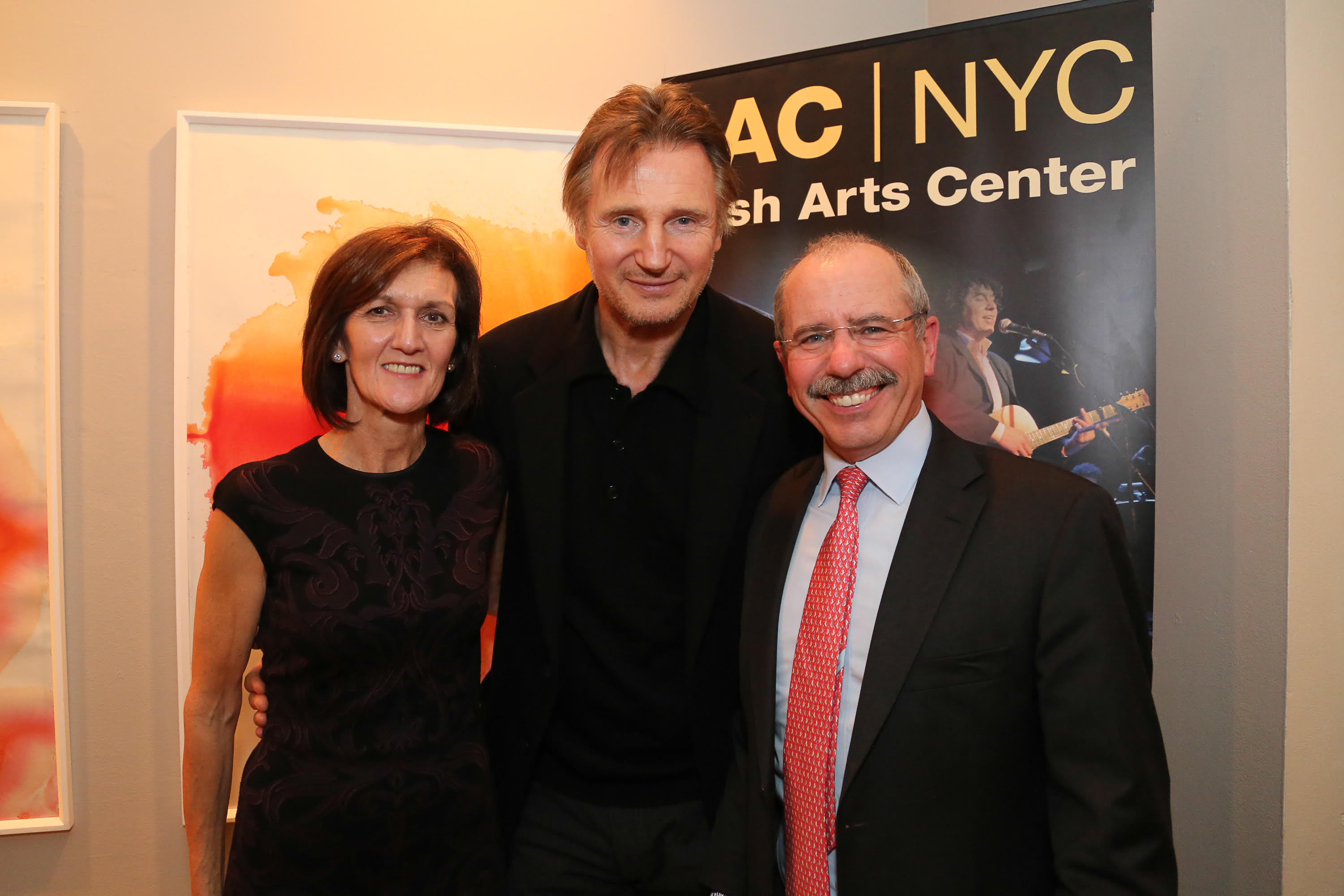 Pictured at the  annual Irish Arts Center  Spirit of Ireland Gala, Mary Kelly, Liam Neeson and Shaun Kelly.