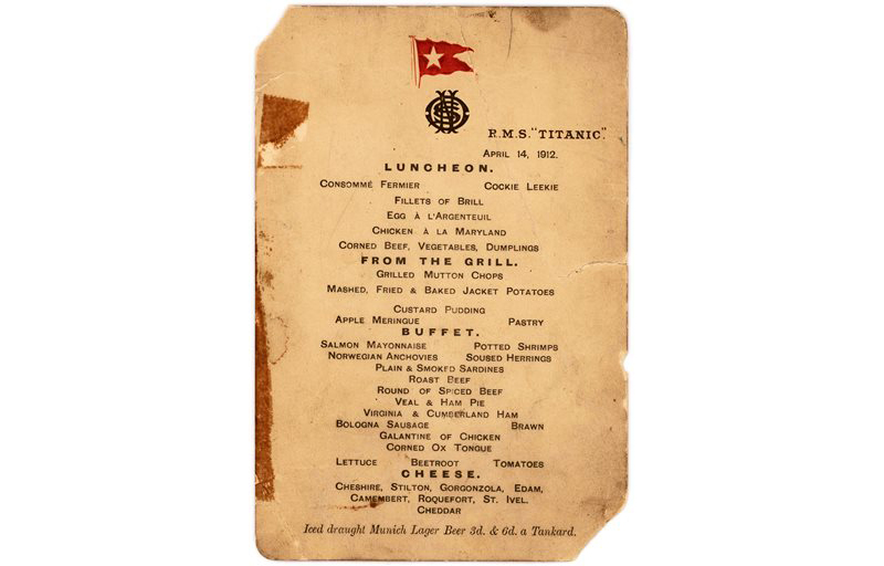 This undated photo provided by Lion Heart Autographs shows the Titanicís last lunch menu, which is going to auction and is estimated to bring $50,000 to $70,000. The menu - saved by a passenger who climbed aboard the so-called ìMoney Boatî before the ocean liner went down - will be sold by Lion Heart Autographs, an online New York auctioneer, along with two other previously unknown artifacts from Lifeboat 1 on Sept. 30, 2015. The auction marks the 30th anniversary of the wreckageís discovery at the bottom of the Atlantic Ocean. (Lion Heart Autographs via AP)