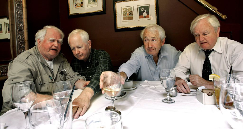 In this 2004 photo, four McCourt brothers sit together at the Washington Square Bar & Grill in San Francisco. From left to right: Malachy McCourt, Alphie McCourt, Frank McCourt, and Michael McCourt.
