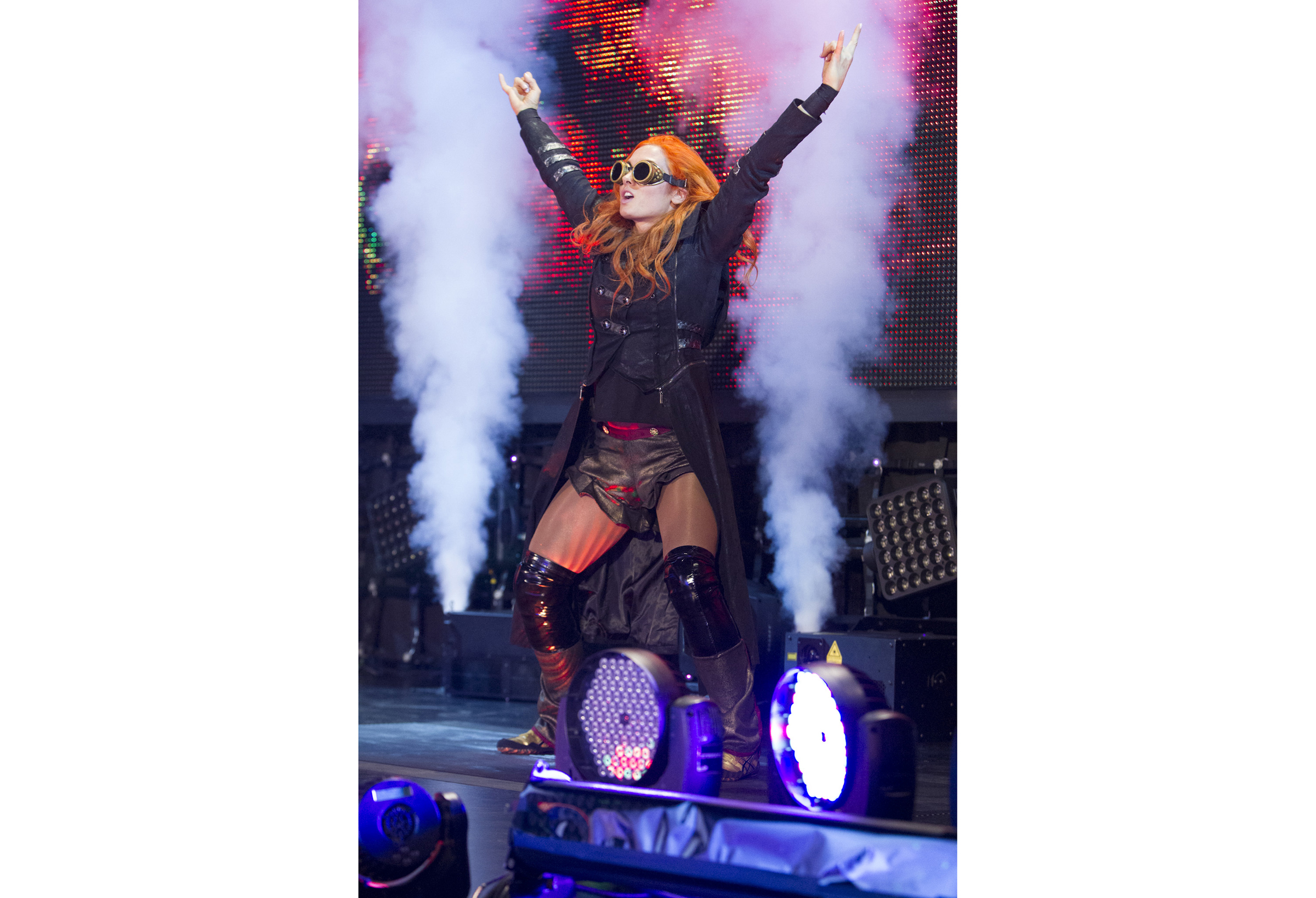 Becky Lynch  entering the stage at  a WWE NXT show  this year.
