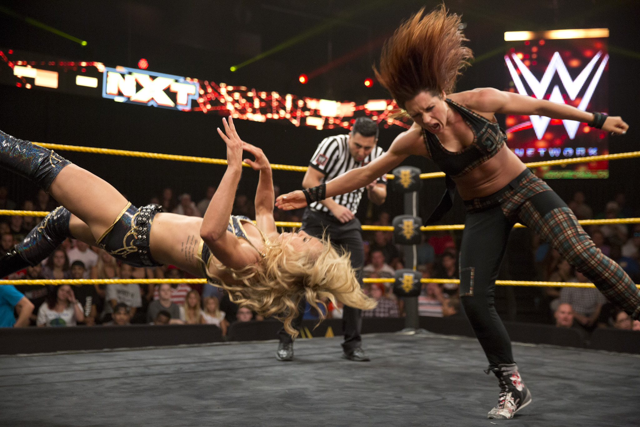 "Becky Lynch using her signature move, the ""Dis-arm-Her,"" on opponent Charlotte Flair."