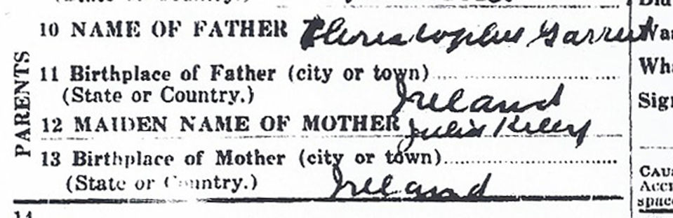 Names of Ann Garrity's parents from her New Jersey death certificate. (New Jersey State Archives)