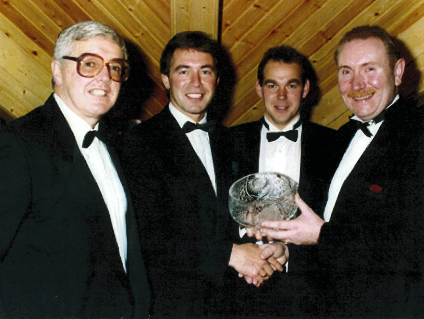 Clerkin (second from left), with John Lavery (far left),  honoring Stephen  McComb (far right) on the occasion of the opening of his new hotel in Belfast, c. 1990.