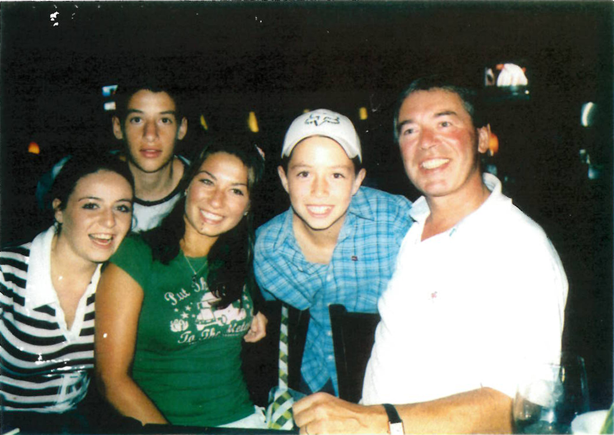 Clerkin with his children. From left: twins Jennifer and James (28), Rachel (30), and Luke (22).
