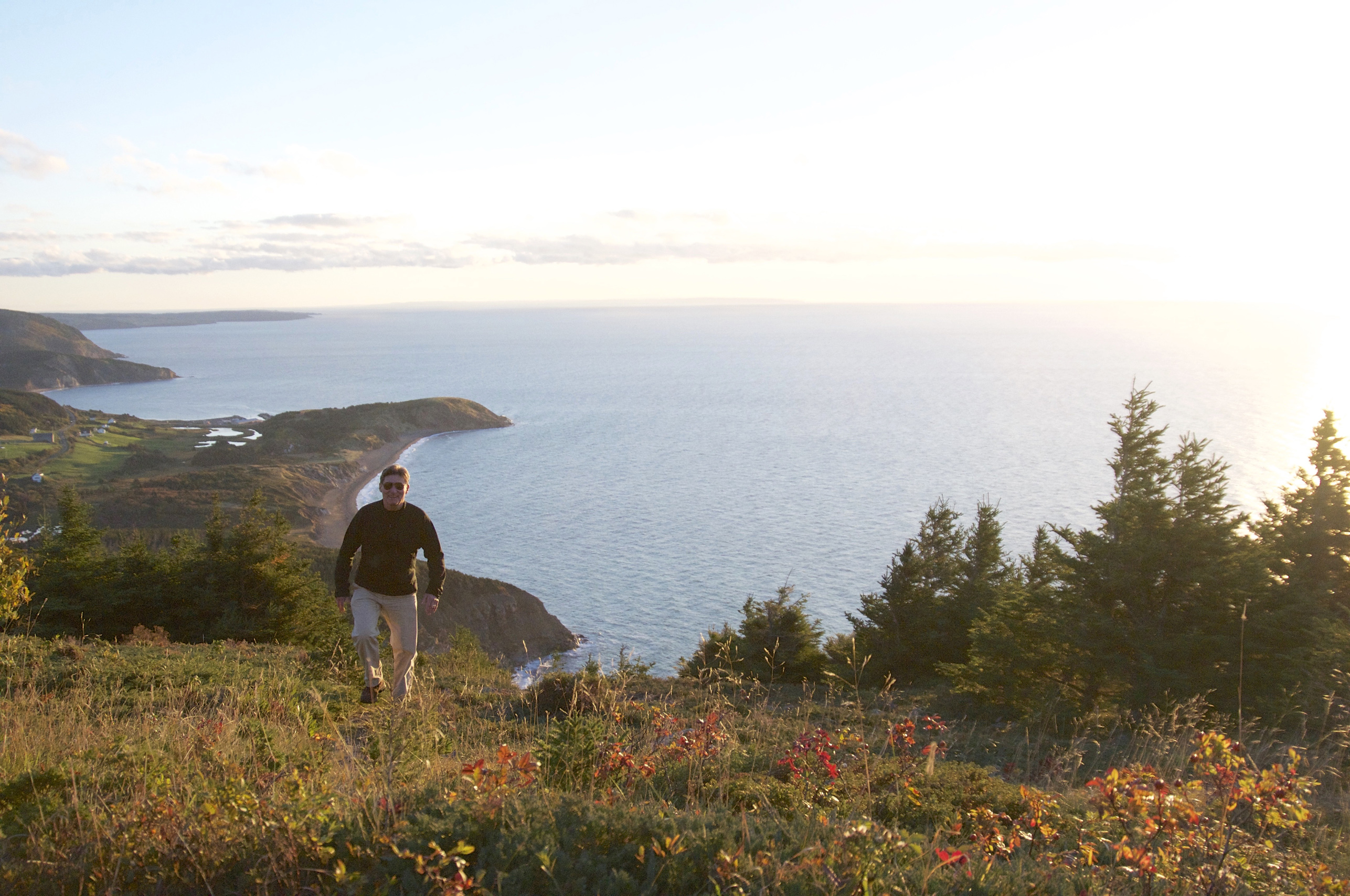 The author discovering the rugged shore at Mabou Mines.