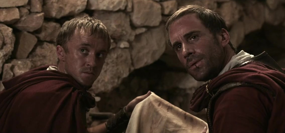 Tom Felton (left) and Joseph Fiennes in Risen.
